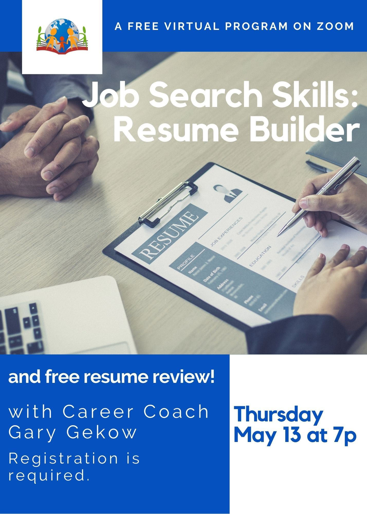 Job Search Skills: Resume Builder Workshop Thursday May 13 at 7
